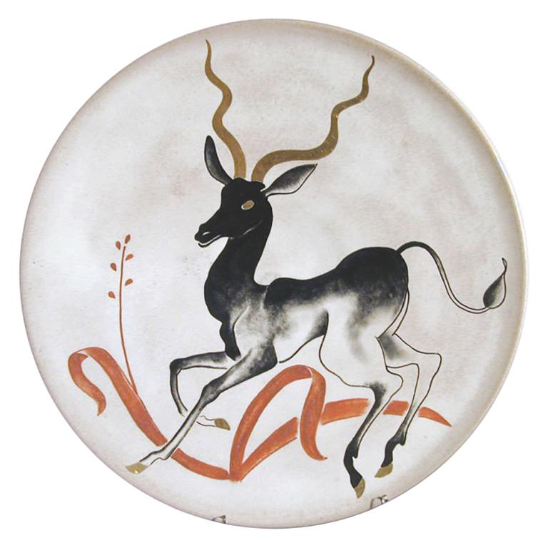 Rare 1940s Charger with Antelope Motif by Cole-Merris For Sale