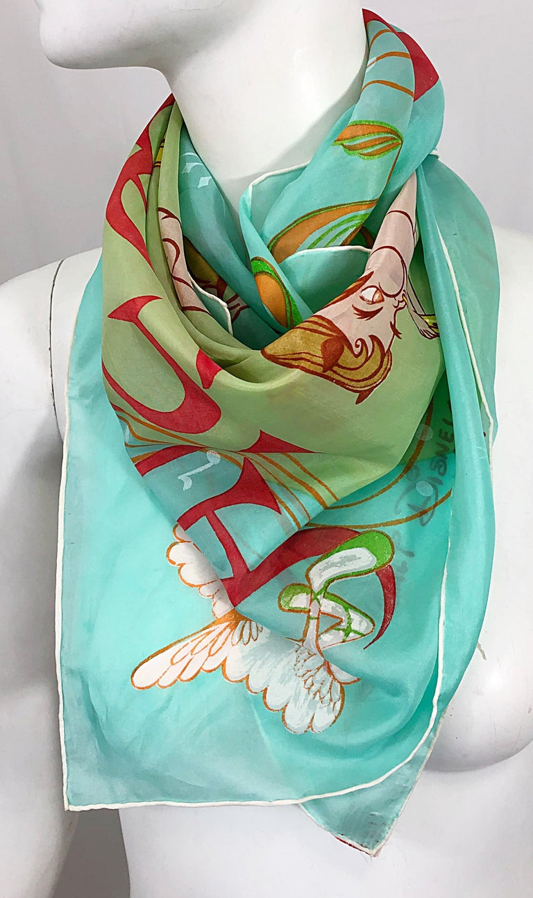 Rare and collectible 1940s FANTASIA Disney cartoon print silk and rayon scarf! Features the signature cartoon characters from the tale, including centaur, a stork and other characters. Hand rolled edges. Perfectly wearable or framed. Can be worn