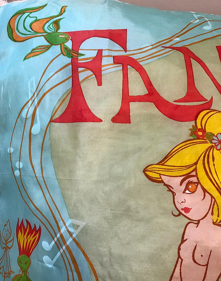 Women's or Men's Rare 1940s Disney Fantasia Centaur Cartoon Silk Rayon 30 x 30 Vintage 40s Scarf For Sale