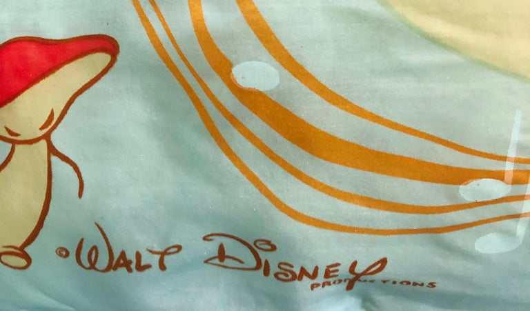 Rare 1940s Disney Fantasia Centaur Cartoon Silk Rayon 30 x 30 Vintage 40s Scarf For Sale 1
