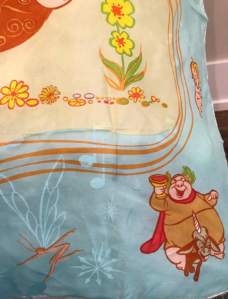 Rare 1940s Disney Fantasia Centaur Cartoon Silk Rayon 30 x 30 Vintage 40s Scarf For Sale 2