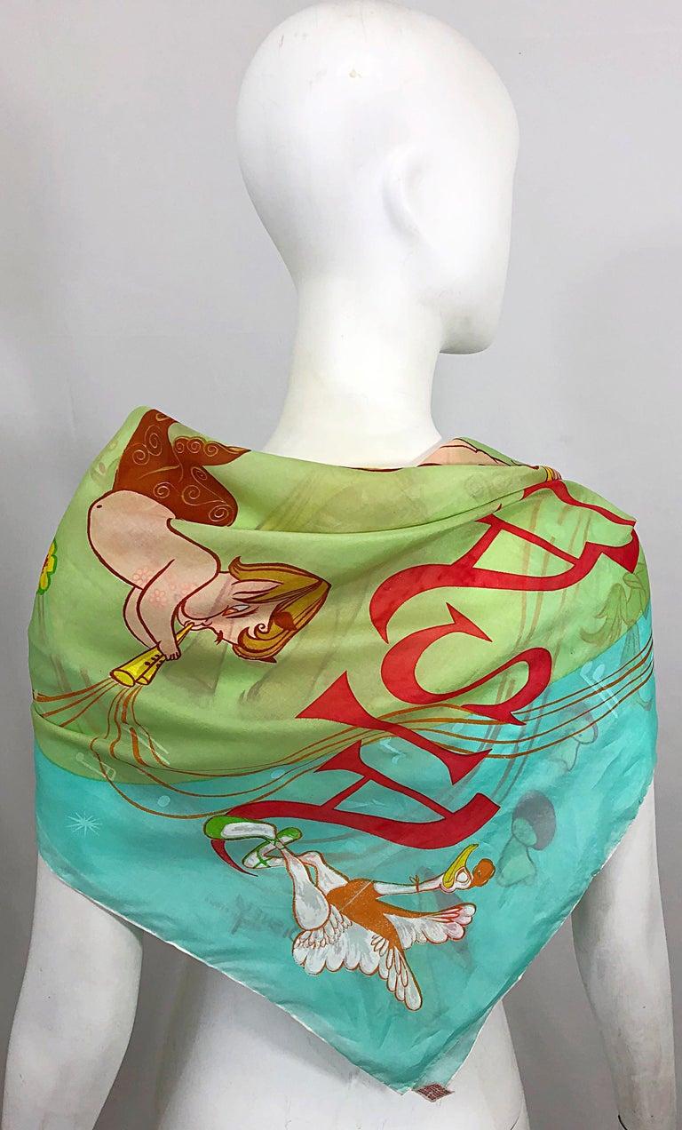 Rare 1940s Disney Fantasia Centaur Cartoon Silk Rayon 30 x 30 Vintage 40s Scarf For Sale 4