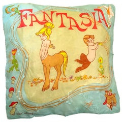 Rare 1940s Disney Fantasia Centaur Cartoon Silk Rayon 30 x 30 Vintage 40s Scarf