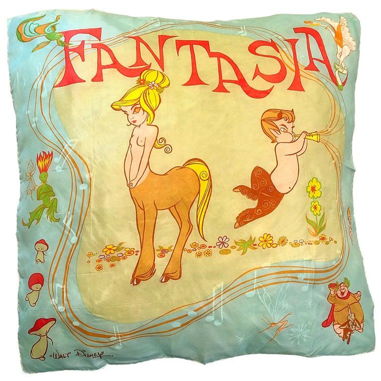 Rare 1940s Disney Fantasia Centaur Cartoon Silk Rayon 30 x 30 Vintage 40s Scarf For Sale