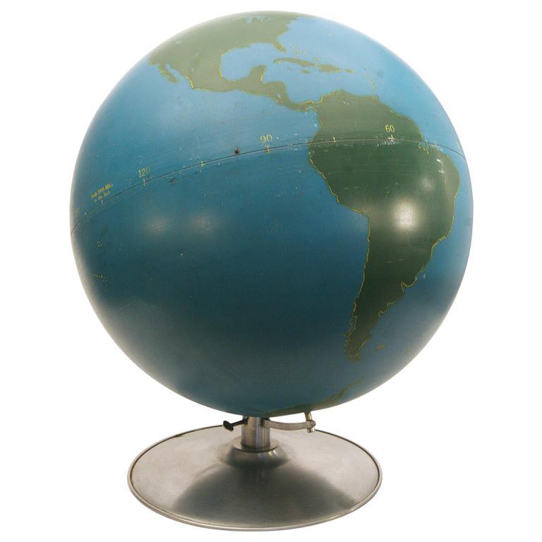 Rare 1940s Hand Painted World Globe