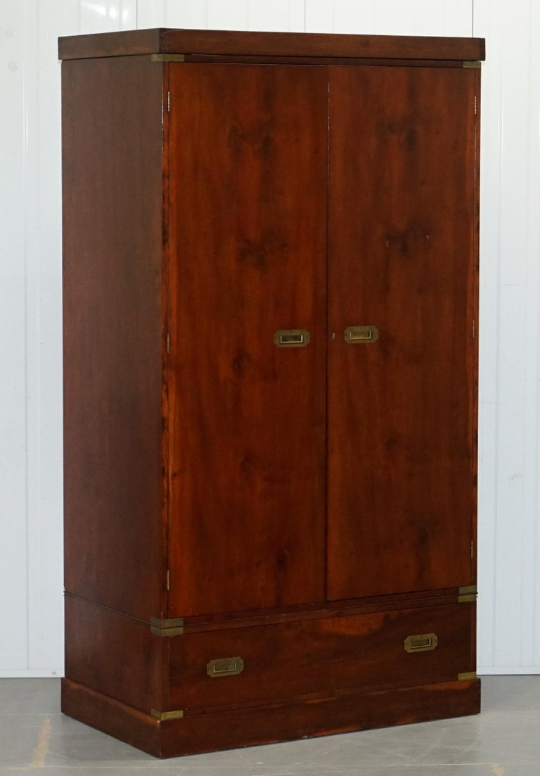 We are delighted to offer for sale this lovely vintage circa 1940s Harrods London Military campaign wardrobe with single drawer  A good looking and well-made piece in stained mahogany, the handles are all original, we have cleaned waxed and