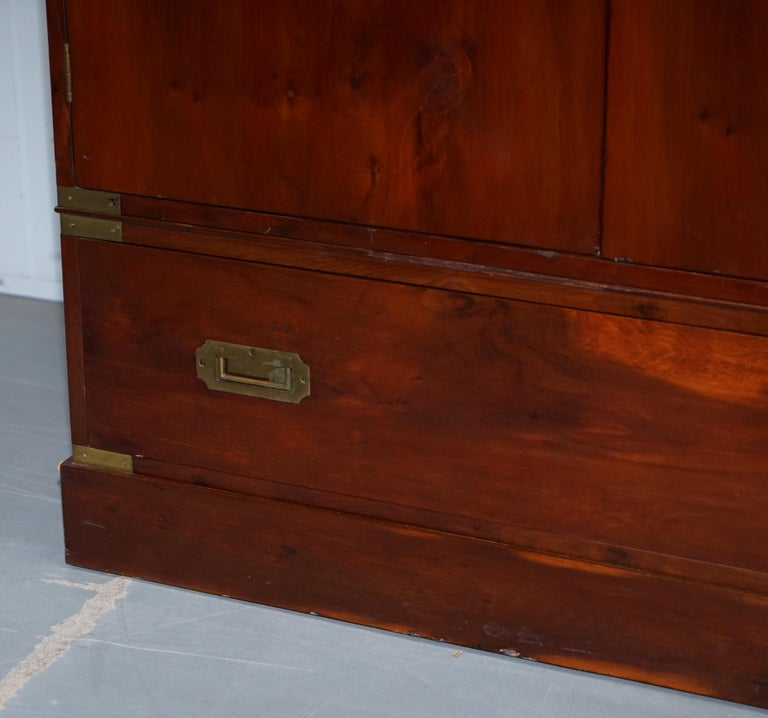 Hand-Carved Rare 1940s Harrods London Military Campaign Wardrobe Mahogany & Brass Drawers For Sale