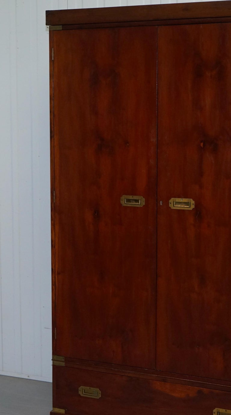 Rare 1940s Harrods London Military Campaign Wardrobe Mahogany & Brass Drawers In Good Condition For Sale In London, GB