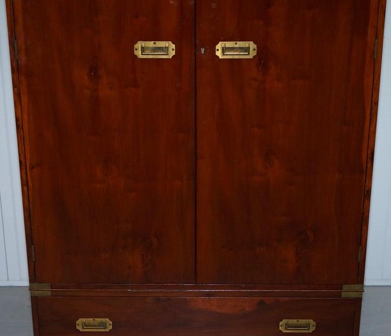 Rare 1940s Harrods London Military Campaign Wardrobe Mahogany & Brass Drawers For Sale 1