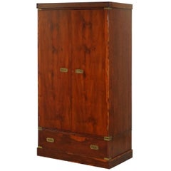 Rare 1940s Harrods London Military Campaign Wardrobe Mahogany & Brass Drawers
