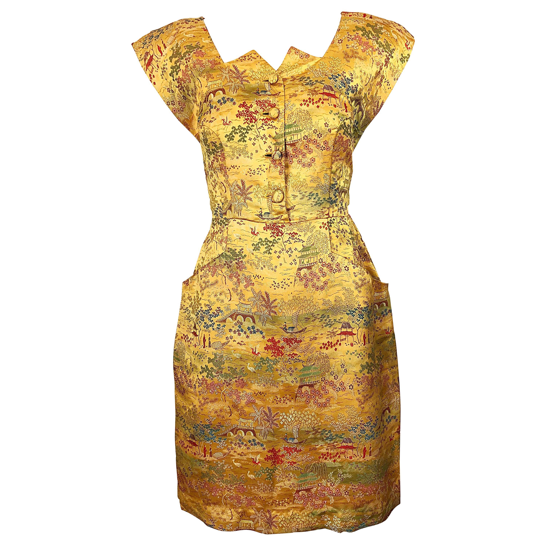 Rare 1940s Novelty Asian Print Avant Garde Silk Strong Shoulder Vintage Dress