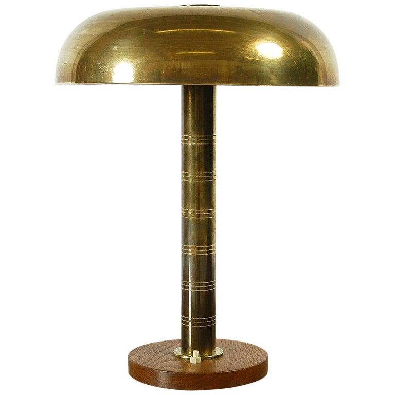 Rare 1940s Scandinavian Postwar Swedish Modernist Table Lamp by Bohlmarks For Sale