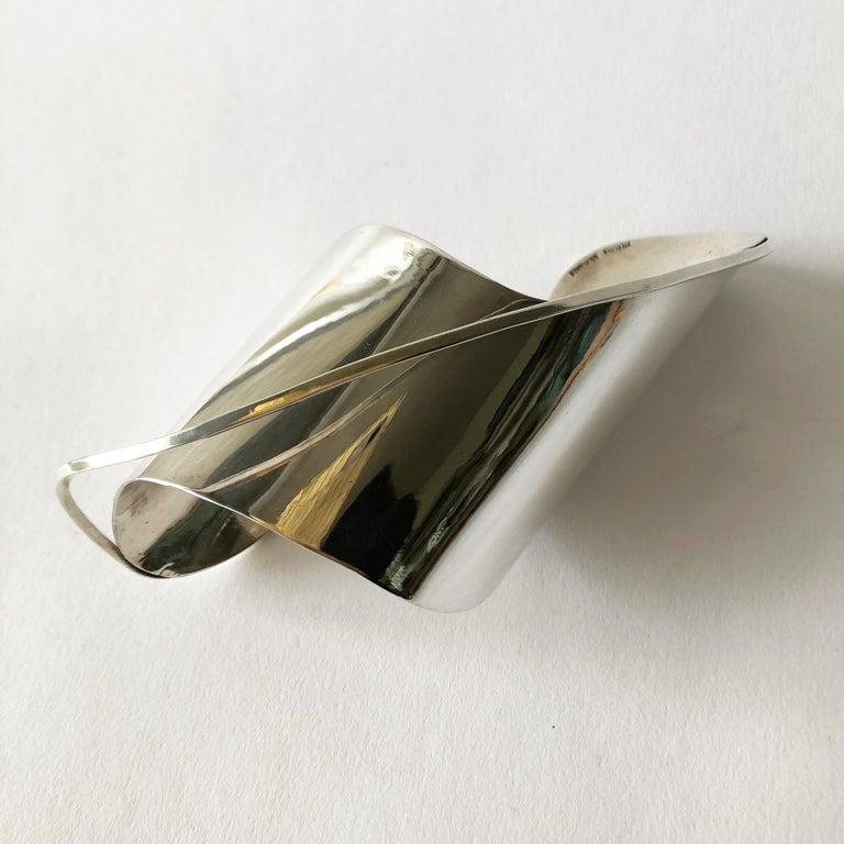 Rare 1948 Ed Wiener Sterling Silver New York Modernist Large Cuff Bracelet For Sale 1