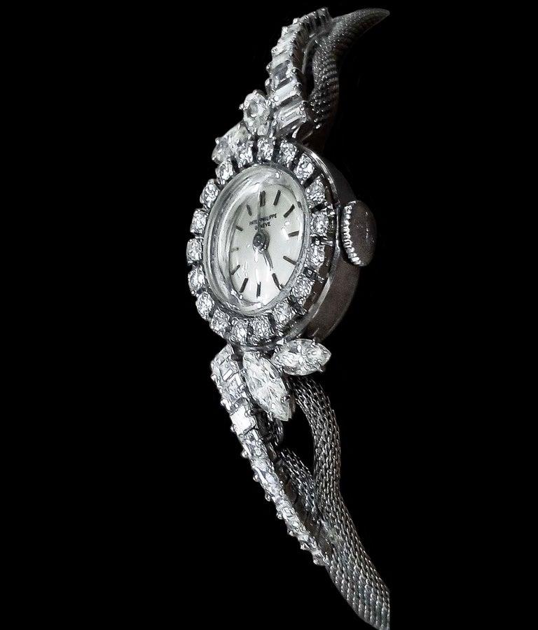 Marquise Cut Rare 1950s-1960s Patek Philippe Platinum Triple Diamond Twist Motif Bracelet For Sale