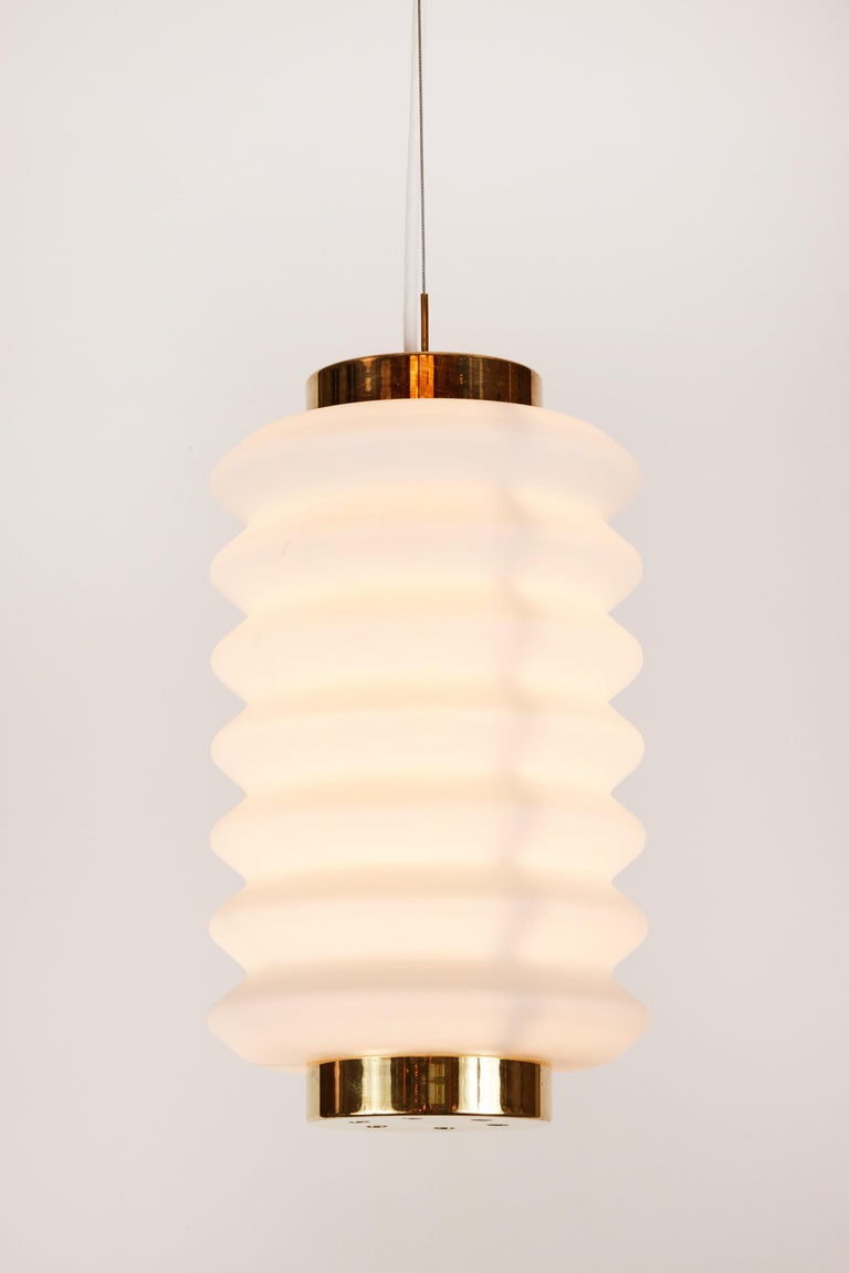 Rare 1950s Angelo Lelli Glass and Brass Suspension Lamp for Arredoluce For Sale 5