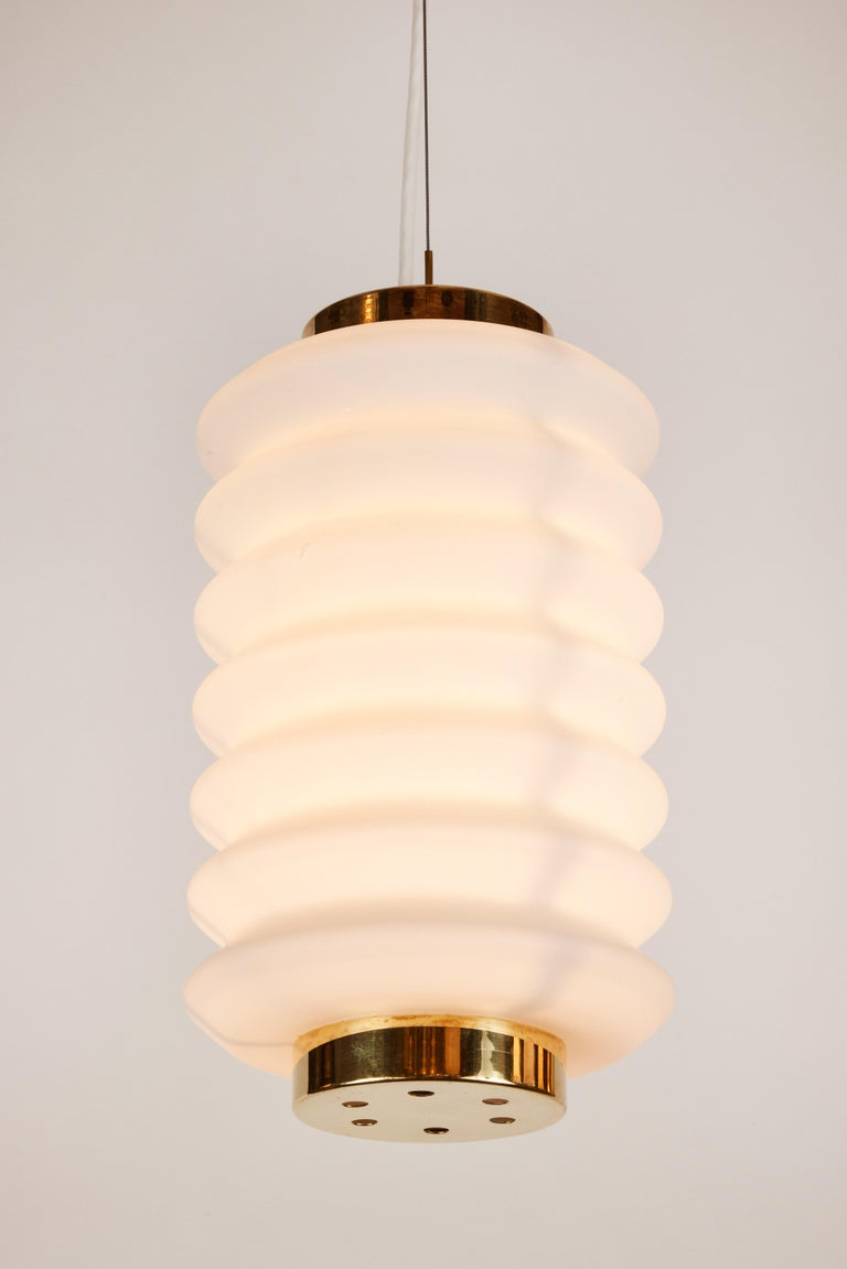 Rare 1950s Angelo Lelli Glass and Brass Suspension Lamp for Arredoluce For Sale 6