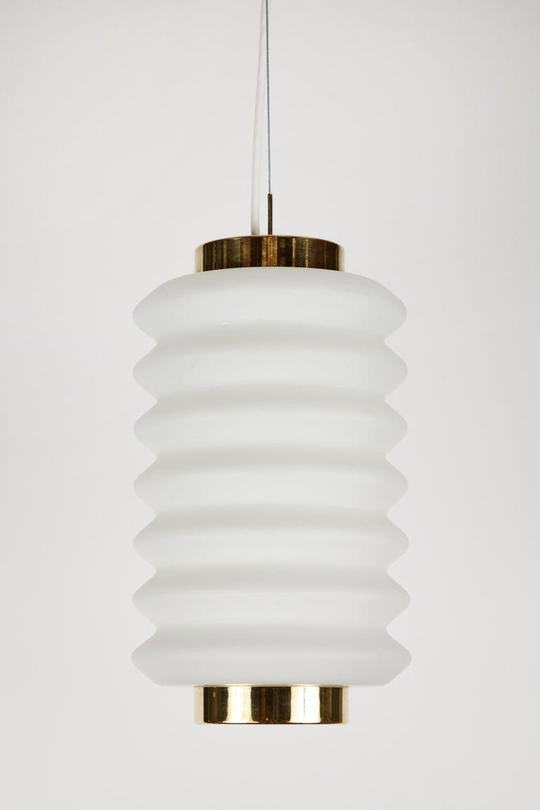 Italian Rare 1950s Angelo Lelli Glass and Brass Suspension Lamp for Arredoluce For Sale
