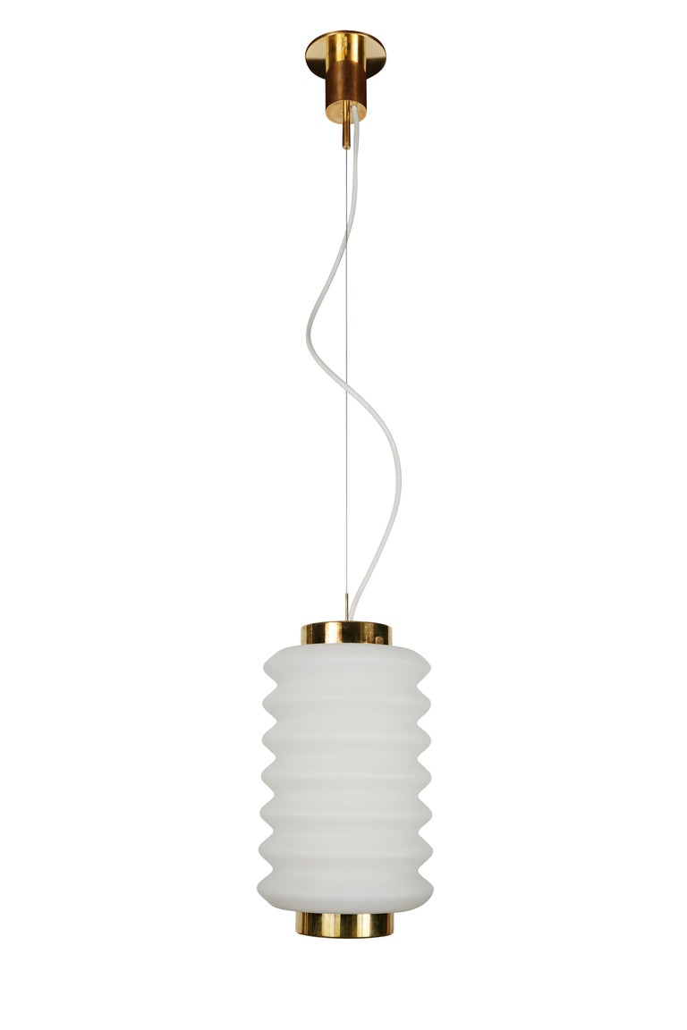 Mid-Century Modern Rare 1950s Angelo Lelli Glass and Brass Suspension Lamp for Arredoluce For Sale