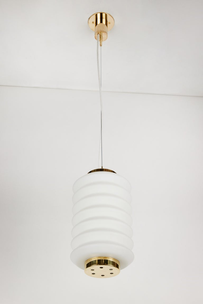 Rare 1950s Angelo Lelli Glass and Brass Suspension Lamp for Arredoluce In Good Condition For Sale In Glendale, CA