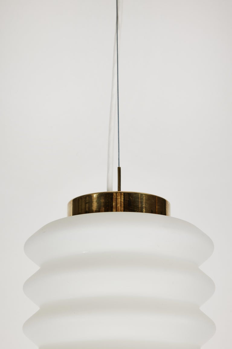 Rare 1950s Angelo Lelli Glass and Brass Suspension Lamp for Arredoluce For Sale 2