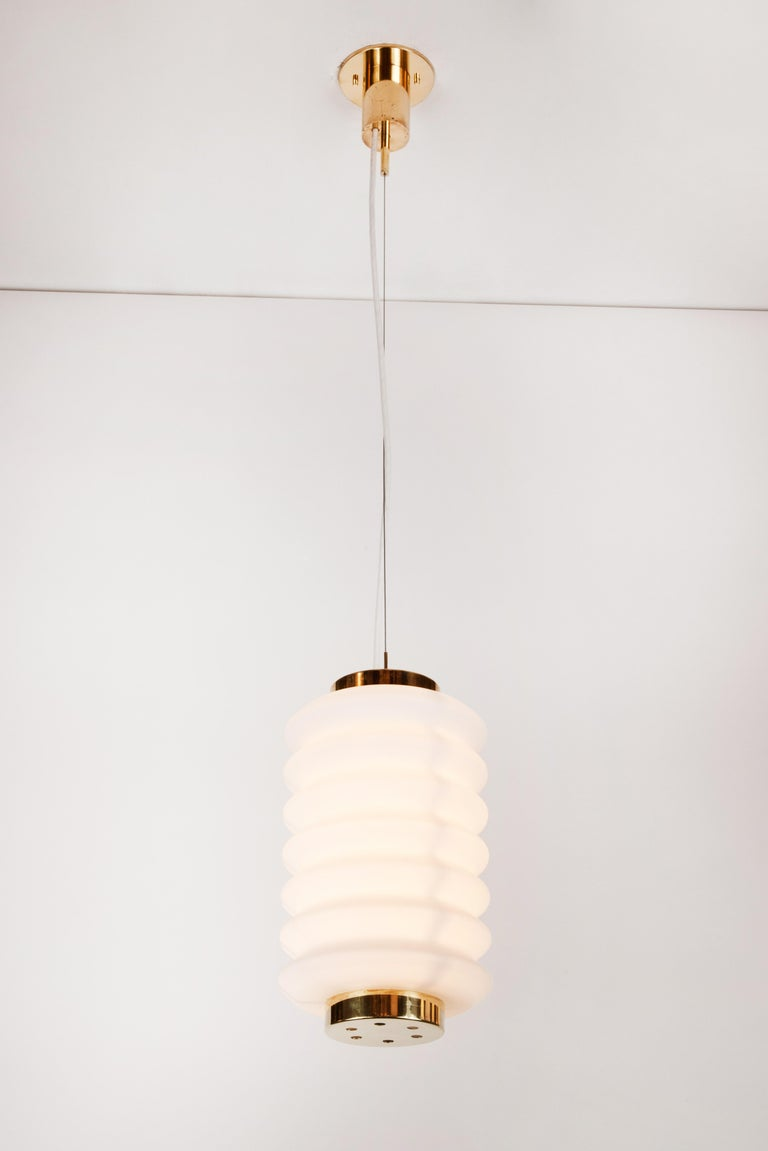 Rare 1950s Angelo Lelli Glass and Brass Suspension Lamp for Arredoluce For Sale 4