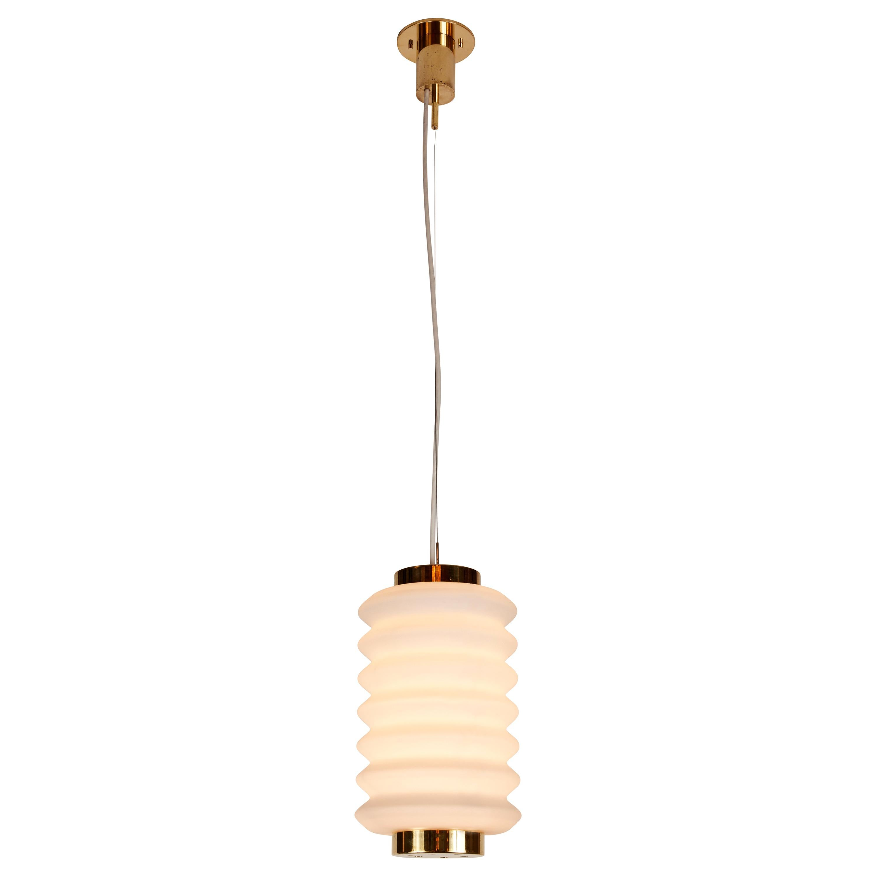 Rare 1950s Angelo Lelli Glass and Brass Suspension Lamp for Arredoluce
