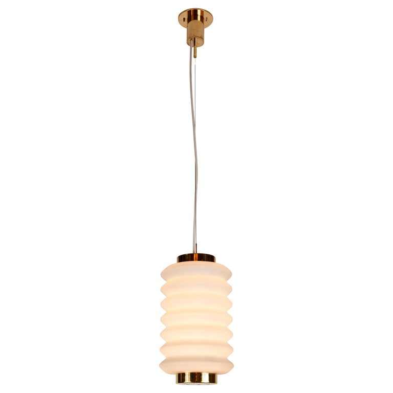 Rare 1950s Angelo Lelli Glass and Brass Suspension Lamp for Arredoluce For Sale