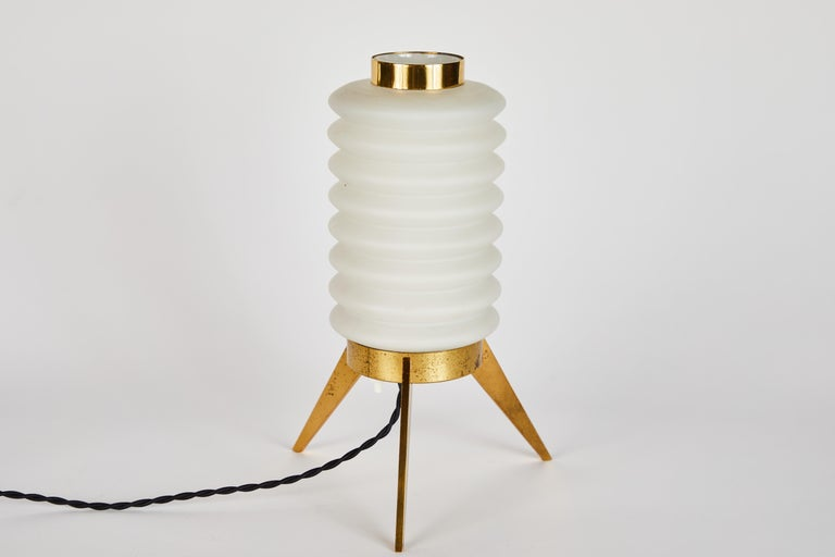 Rare 1950s Angelo Lelli Glass and Brass Tripod Table Lamp for Arredoluce For Sale 4