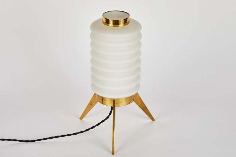 Rare 1950s Angelo Lelli Glass and Brass Tripod Table Lamp for Arredoluce For Sale 6