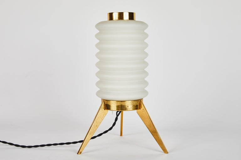 Rare 1950s Angelo Lelli Glass and Brass Tripod Table Lamp for Arredoluce For Sale 8