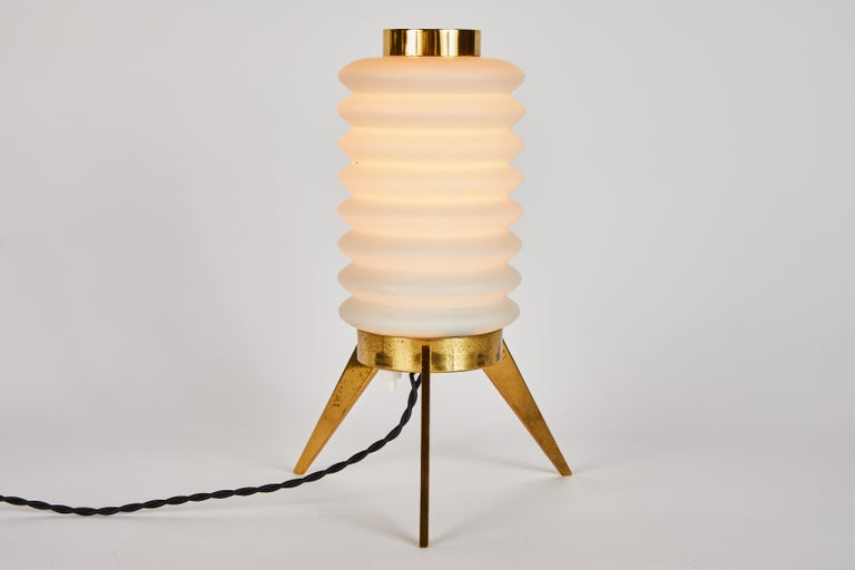 Opaline Glass Rare 1950s Angelo Lelli Glass and Brass Tripod Table Lamp for Arredoluce For Sale