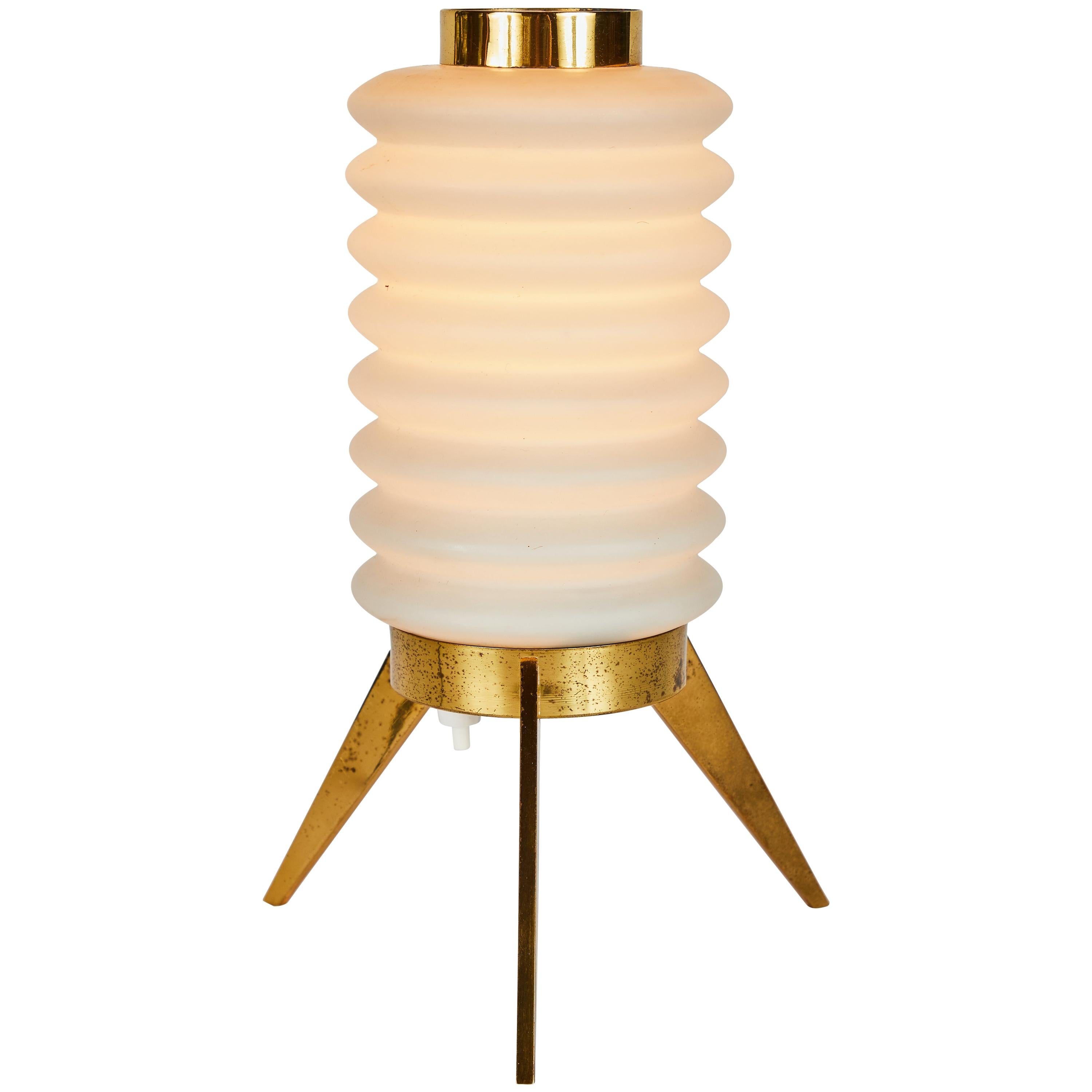 Rare 1950s Angelo Lelli Glass and Brass Tripod Table Lamp for Arredoluce