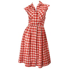 Rare 1950s Ann Taylor Red + White Checkered Rhinestone Vintage 50s Cotton Dress