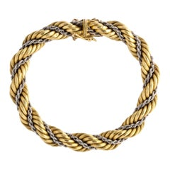 1960s Cartier Two-Tone Gold Rope Twist Chain Bracelet with Box