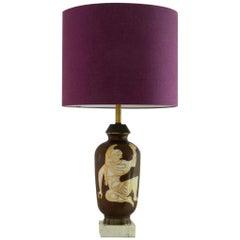 Rare 1950s Ceramic Lamp in the Neoclassical Manner