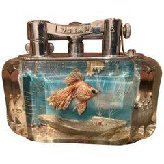 Rare 1950s Dunhill Aquarium Half-Giant Lighter, Chrome Plated, Made in England