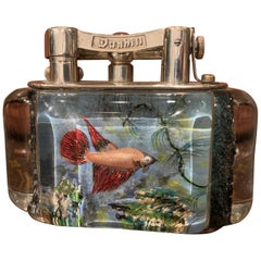 Rare 1950s Dunhill Aquarium Half-Giant Lighter, Silver Plated, Made in England