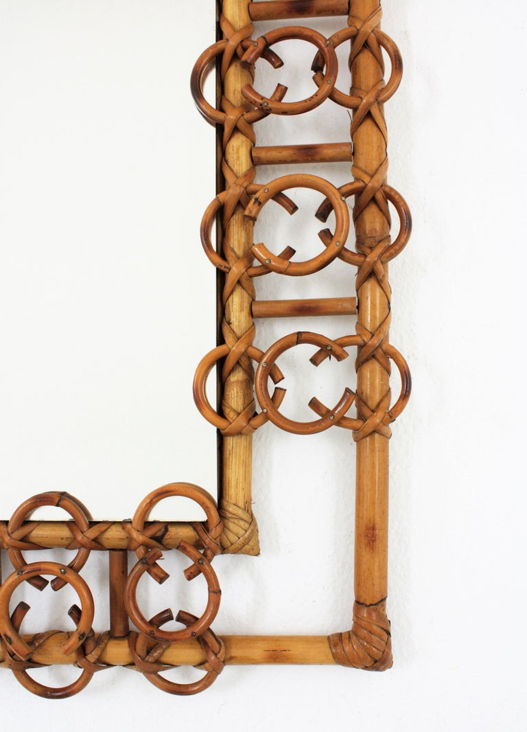 Mid-20th Century Rare 1950s French Riviera Bamboo & Rattan Rectangular Mirror Framed with Circles