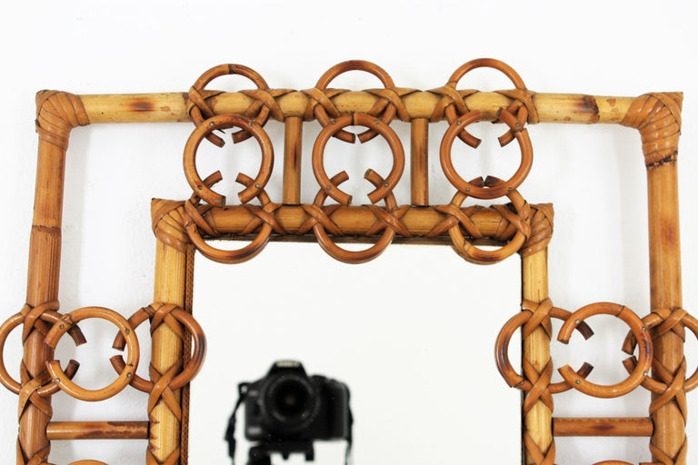 Mid-Century Modern Rare 1950s French Riviera Bamboo & Rattan Rectangular Mirror Framed with Circles