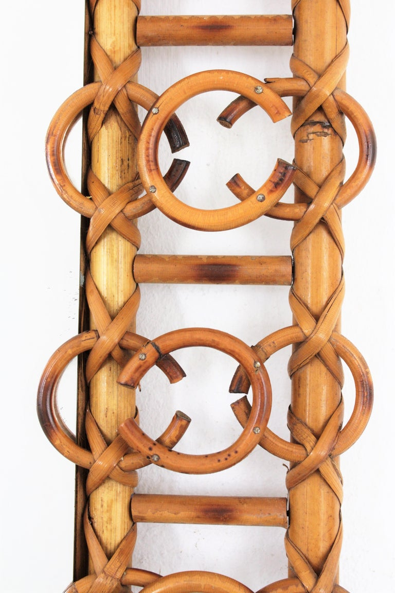 Rare 1950s French Riviera Bamboo & Rattan Rectangular Mirror Framed with Circles 2