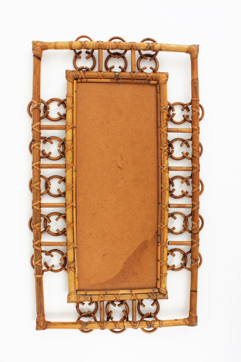 Rare 1950s French Riviera Bamboo & Rattan Rectangular Mirror Framed with Circles 3