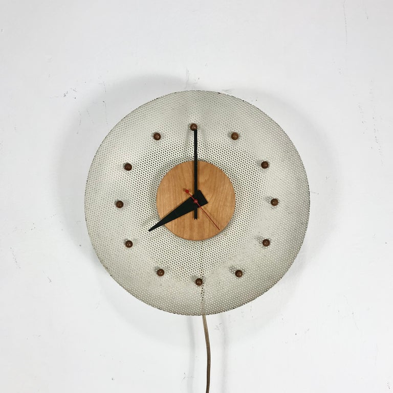 Mid-Century Modern Rare 1950s George Nelson Wire Mesh and Birch Electric Wall Clock, Howard Miller For Sale