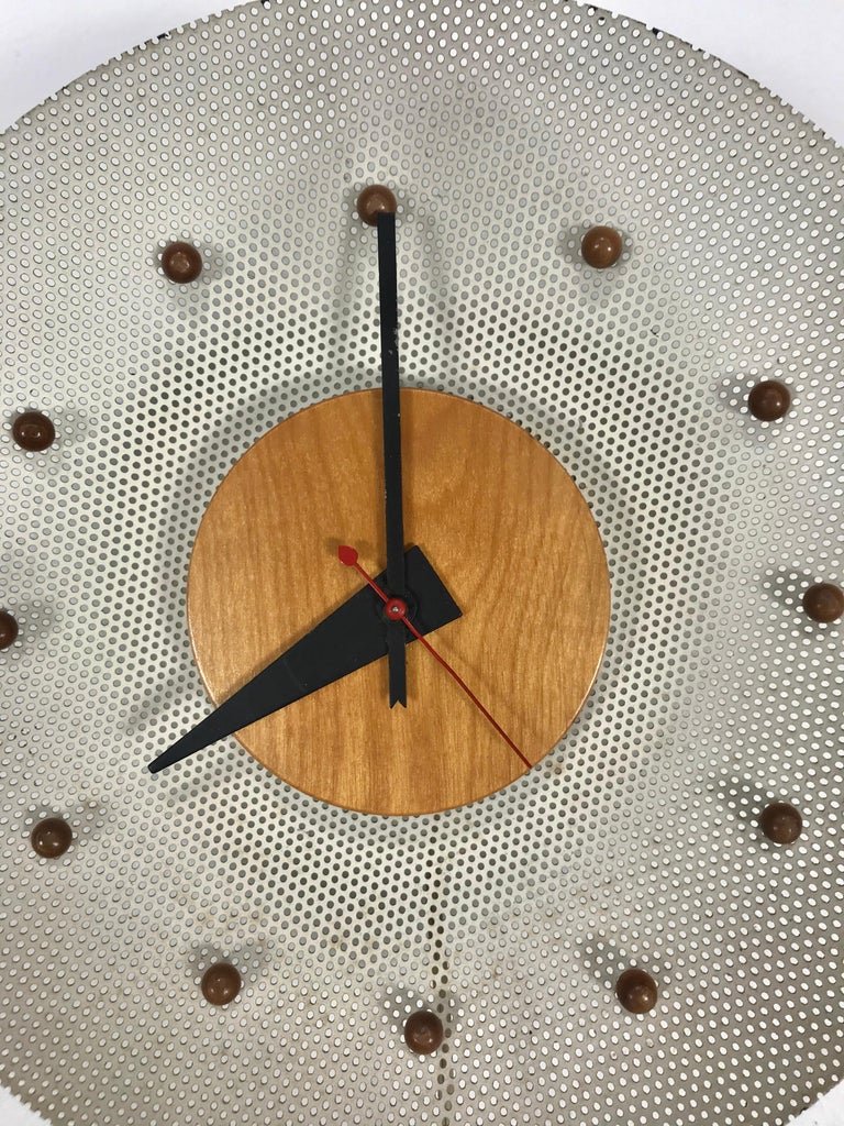 American Rare 1950s George Nelson Wire Mesh and Birch Electric Wall Clock, Howard Miller For Sale