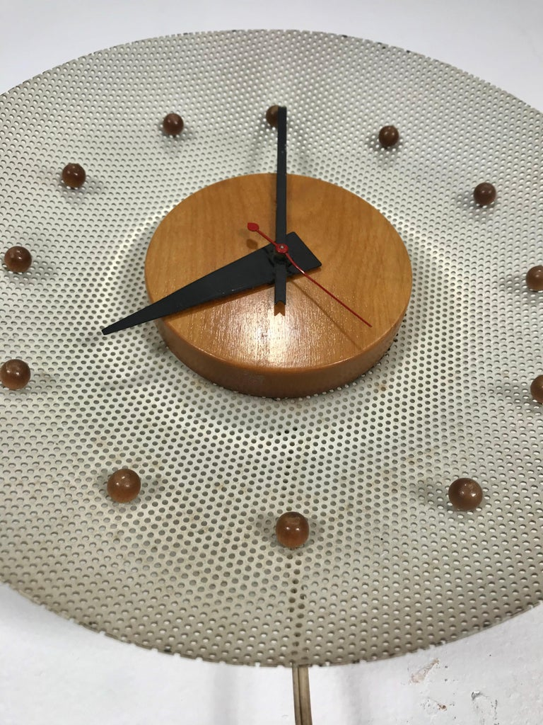 Rare 1950s George Nelson Wire Mesh and Birch Electric Wall Clock, Howard Miller In Good Condition For Sale In Buffalo, NY