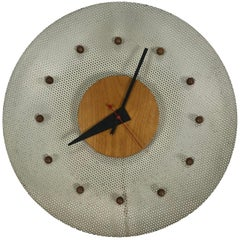 Rare 1950s George Nelson Wire Mesh and Birch Electric Wall Clock, Howard Miller