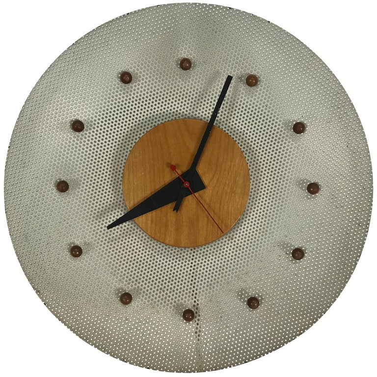 Rare 1950s George Nelson Wire Mesh and Birch Electric Wall Clock, Howard Miller For Sale