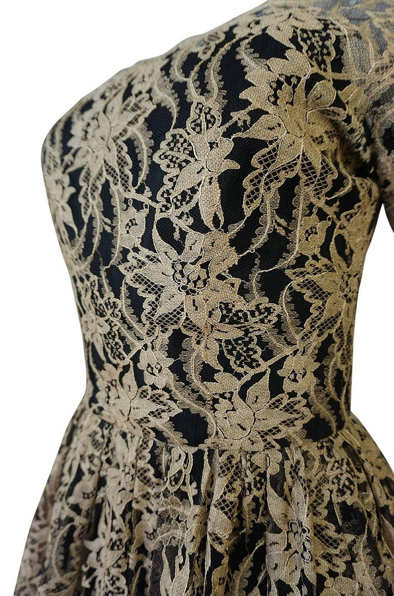 Rare 1950s Jacques Heim Full Skirted Black Net Dress w Gold Thread Lace For Sale 6