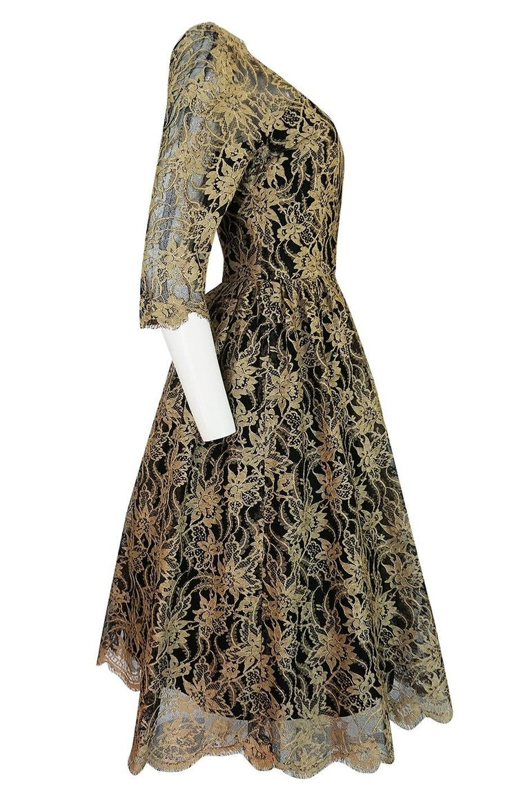 Rare 1950s Jacques Heim Full Skirted Black Net Dress w Gold Thread Lace In Excellent Condition For Sale In Rockwood, ON