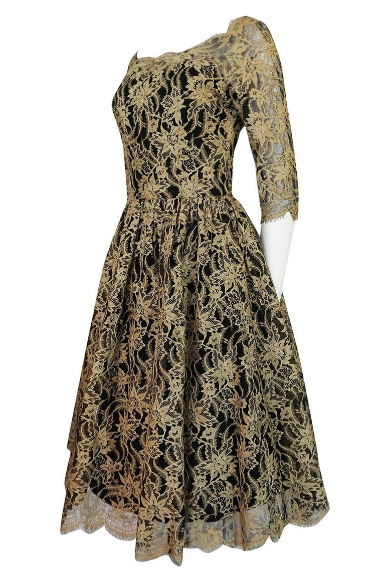 Women's Rare 1950s Jacques Heim Full Skirted Black Net Dress w Gold Thread Lace For Sale