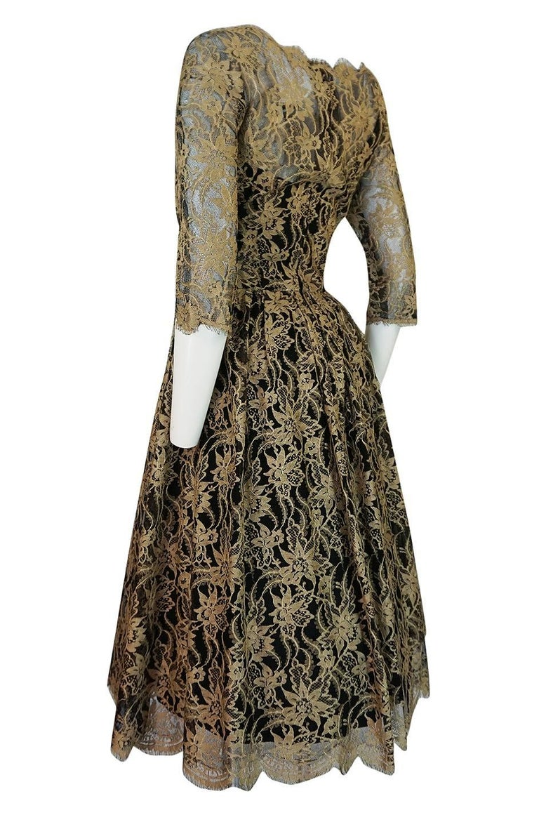 Rare 1950s Jacques Heim Full Skirted Black Net Dress w Gold Thread Lace For Sale 1